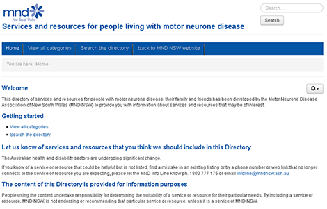 Living with MND Directory of Services and Resources